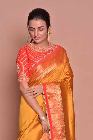 Buy beautiful mustard zari border saree online in USA with red embroidered saree blouse. Be occasion ready with exquisite range of designer sarees with blouse, bridal sarees from Pure Elegance Indian boutique in USA.-closeup