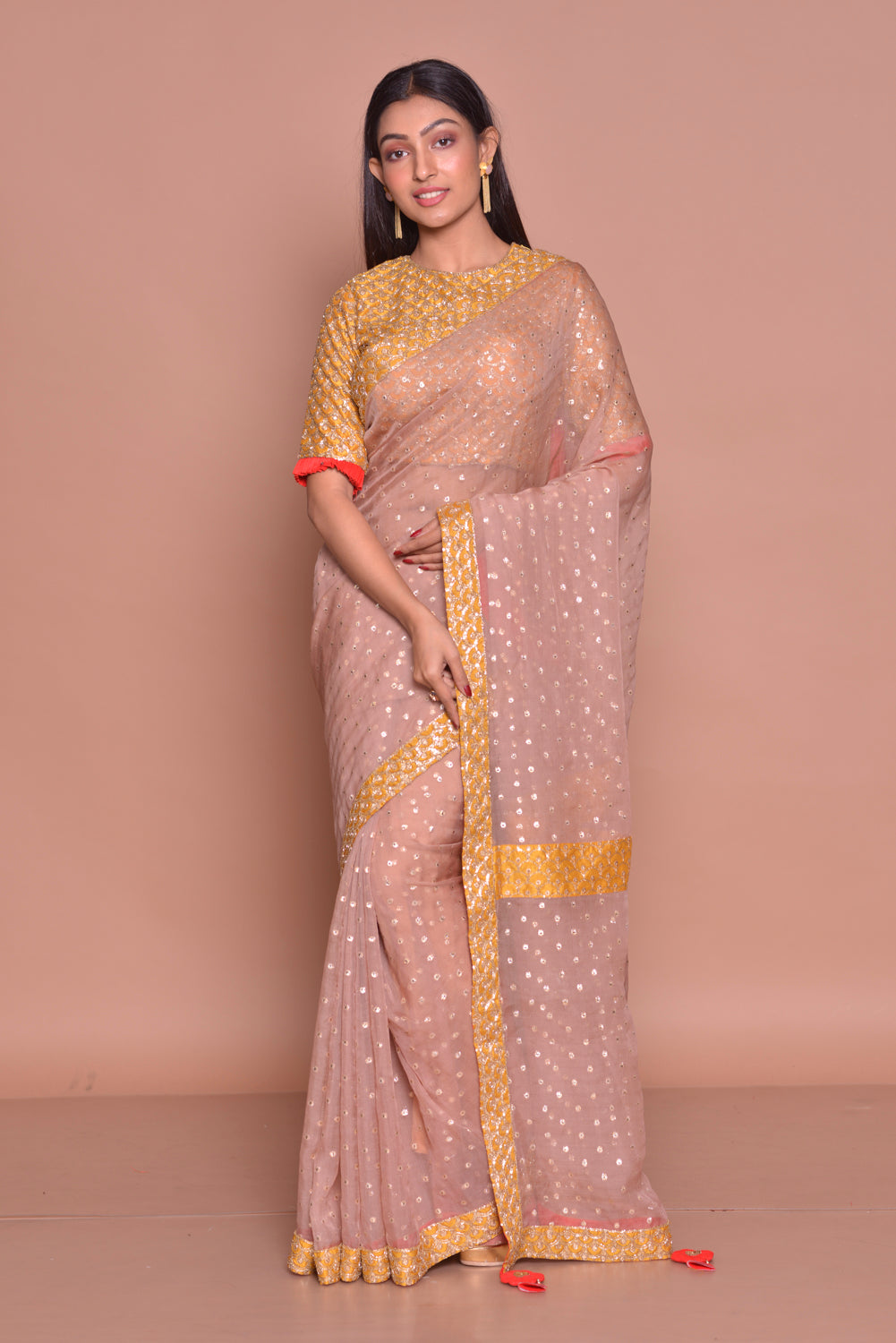 Buy beautiful light brown embroidered sari online in USA with yellow embroidered saree blouse. Be occasion ready with exquisite range of designer sarees with blouse, bridal sarees from Pure Elegance Indian boutique in USA.-full view