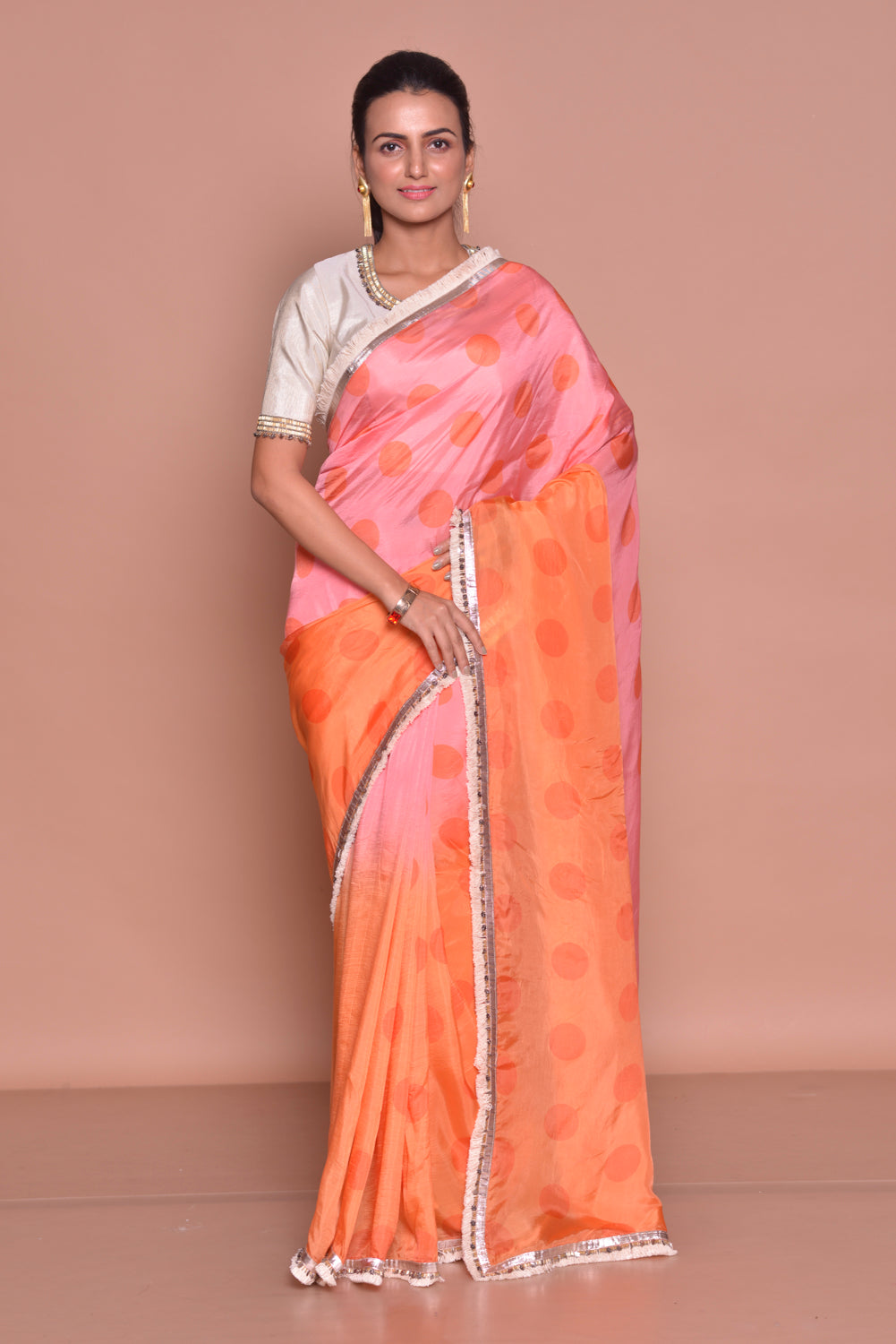 Buy stunning pink and orange polka dot embroidered saree online in USA with embroidered white saree blouse. Be occasion ready with exquisite range of designer sarees with blouse, bridal sarees from Pure Elegance Indian boutique in USA.-full view