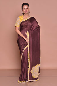 Buy stunning dark brown embroidered sari online in USA with yellow embroidered saree blouse. Be occasion ready with exquisite range of designer sarees with blouse, bridal sarees from Pure Elegance Indian boutique in USA.-full view
