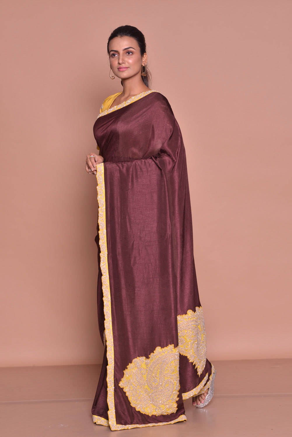 Buy stunning dark brown embroidered sari online in USA with yellow embroidered saree blouse. Be occasion ready with exquisite range of designer sarees with blouse, bridal sarees from Pure Elegance Indian boutique in USA.-side