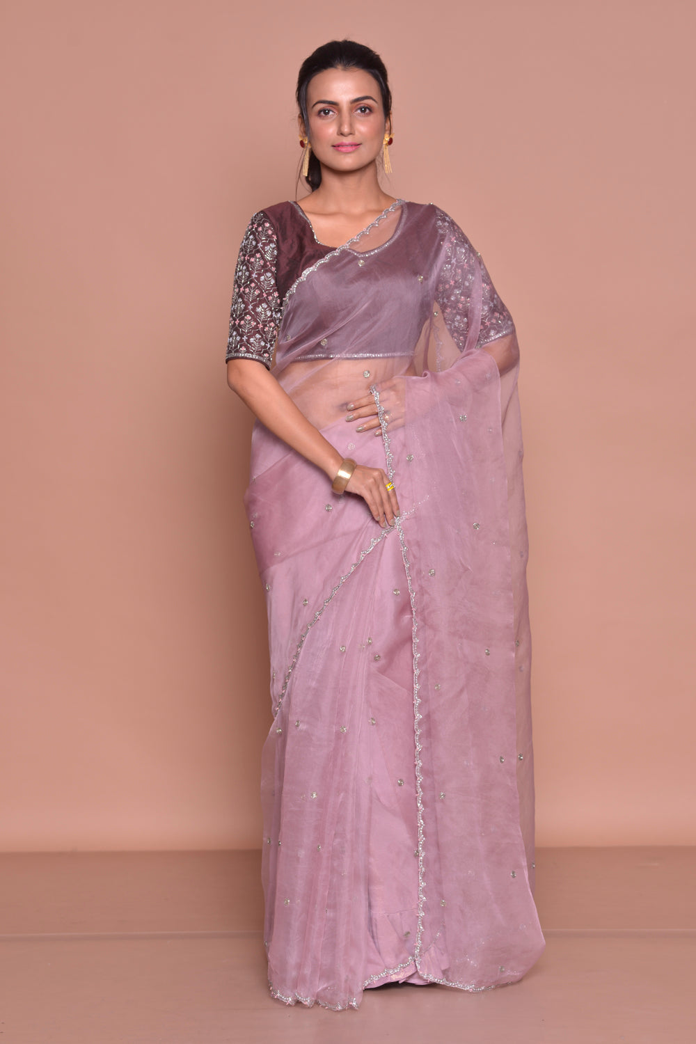 Shop gorgeous lilac embroidered sheer saree online in USA with embroidered saree blouse. Be occasion ready with exquisite range of designer sarees with blouse, bridal sarees from Pure Elegance Indian boutique in USA.-full view