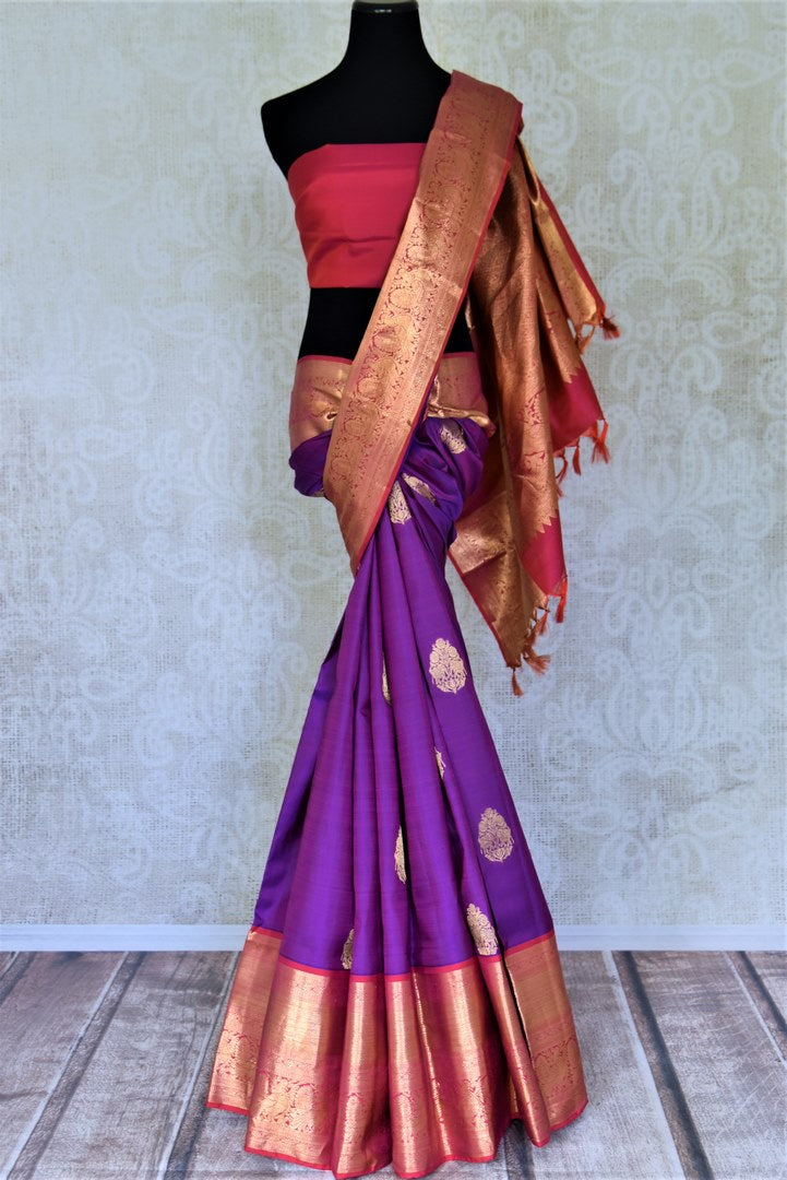 Shop beautiful purple Kanjeevaram saree online in USA with pink zari border and zari buta. Go for rich traditional festive look with beautiful Kanchipuram silk sarees, soft silk sarees, Banarasi silk saris from Pure Elegance Indian cloth store in USA. -full view
