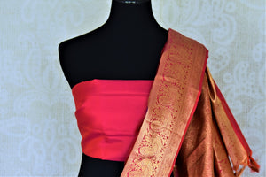 Shop beautiful purple Kanjeevaram saree online in USA with pink zari border and zari buta. Go for rich traditional festive look with beautiful Kanchipuram silk sarees, soft silk sarees, Banarasi silk saris from Pure Elegance Indian cloth store in USA. -blouse pallu