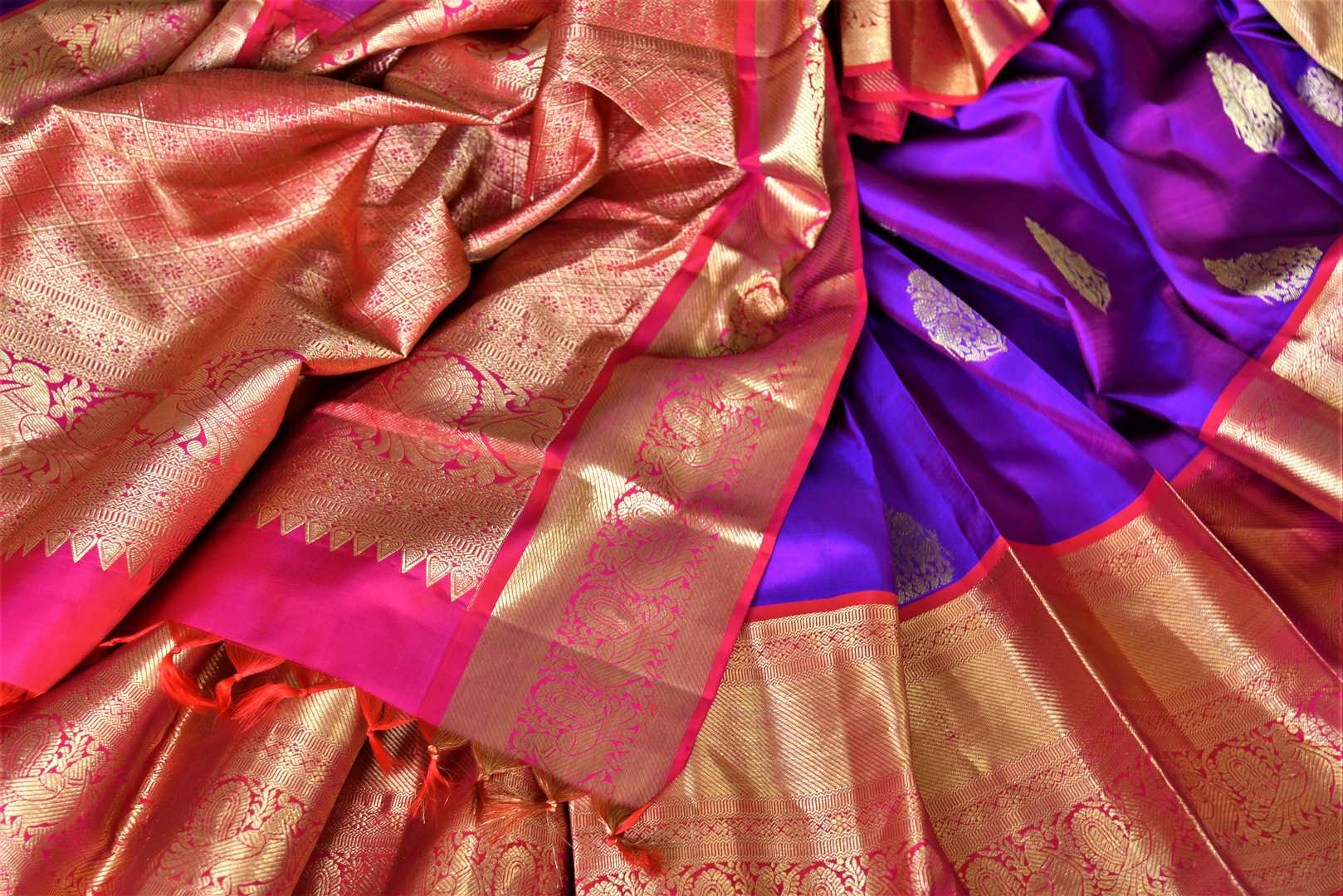 Shop beautiful purple Kanjeevaram saree online in USA with pink zari border and zari buta. Go for rich traditional festive look with beautiful Kanchipuram silk sarees, soft silk sarees, Banarasi silk saris from Pure Elegance Indian cloth store in USA. -details