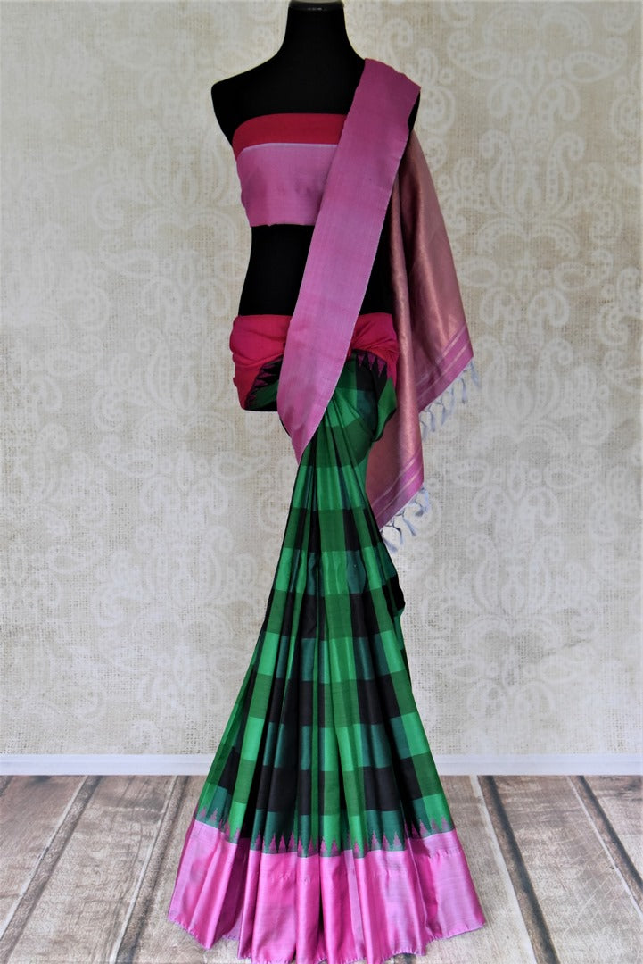 Shop beautiful green check Gadhwal silk saree online in USA with solid pink border. Let your elegance be the highlight of every occasion with stunning handwoven saris, soft silk sarees, traditional Kanchipuram sarees from Pure Elegance Indian fashion boutique in USA.-full view
