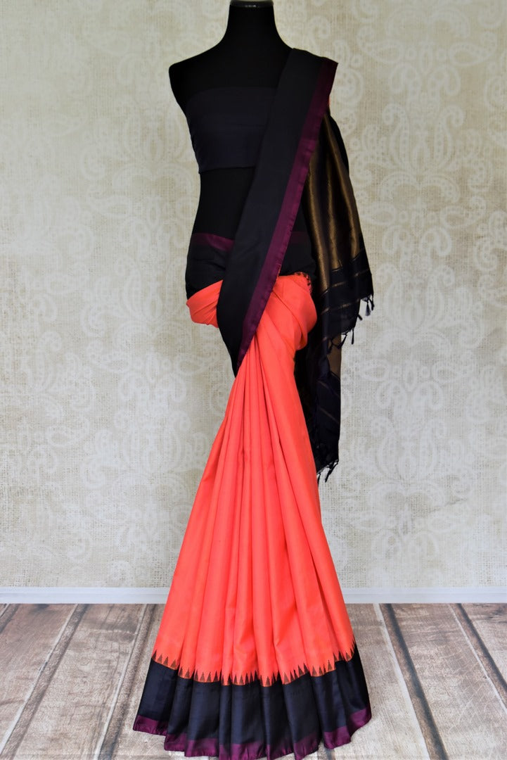 Shop peach Gadhwal silk sari online in USA with solid black border. Let your elegance be the highlight of every occasion with stunning handwoven saris, soft silk sarees, traditional Kanchipuram sarees from Pure Elegance Indian fashion boutique in USA.-full view