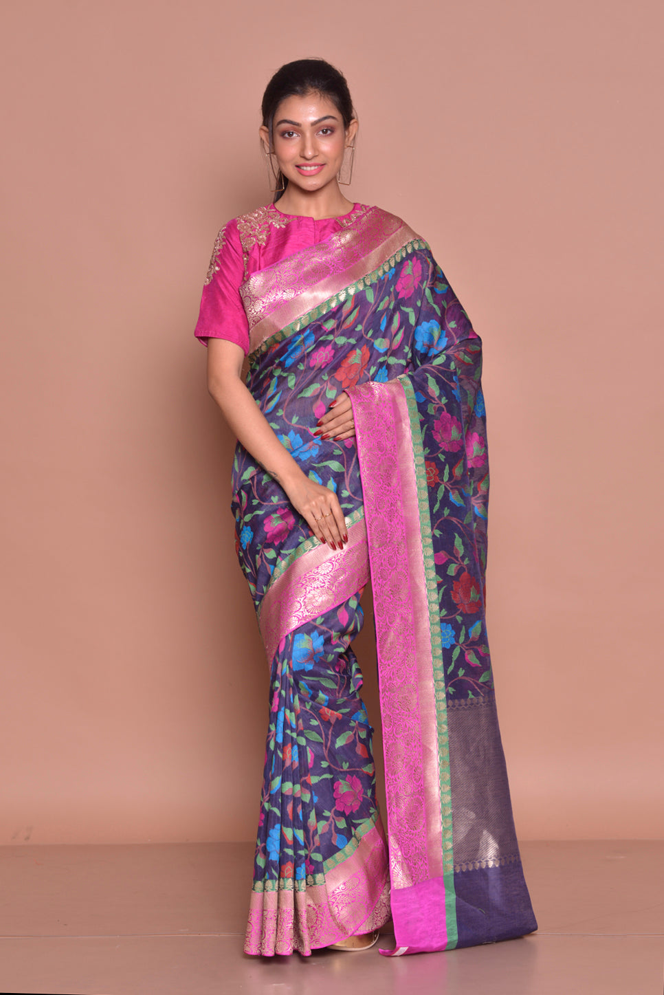 Buy gorgeous blue floral jute Banarasi saree online in USA with zari border and pink embroidered saree blouse. Set ethnic fashion goals with exquisite designer sarees with blouse, Banarasi sarees, Kanchipuram saris from Pure Elegance Indian luxury clothing store in USA.-full view