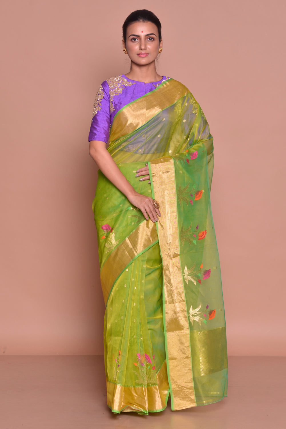 Buy stunning yellow green embroidered chanderi silk saree online in USA with purple embroidered sari blouse. Set ethnic fashion goals with exquisite designer sarees with blouse, Banarasi sarees, Kanchipuram saris from Pure Elegance Indian luxury clothing store in USA.-full view