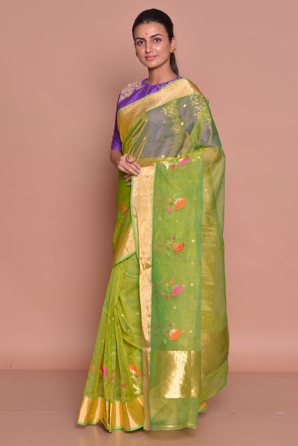 Buy stunning yellow green embroidered chanderi silk saree online in USA with purple embroidered sari blouse. Set ethnic fashion goals with exquisite designer sarees with blouse, Banarasi sarees, Kanchipuram saris from Pure Elegance Indian luxury clothing store in USA.-side
