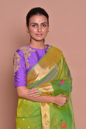 Buy stunning yellow green embroidered chanderi silk saree online in USA with purple embroidered sari blouse. Set ethnic fashion goals with exquisite designer sarees with blouse, Banarasi sarees, Kanchipuram saris from Pure Elegance Indian luxury clothing store in USA.-closeup