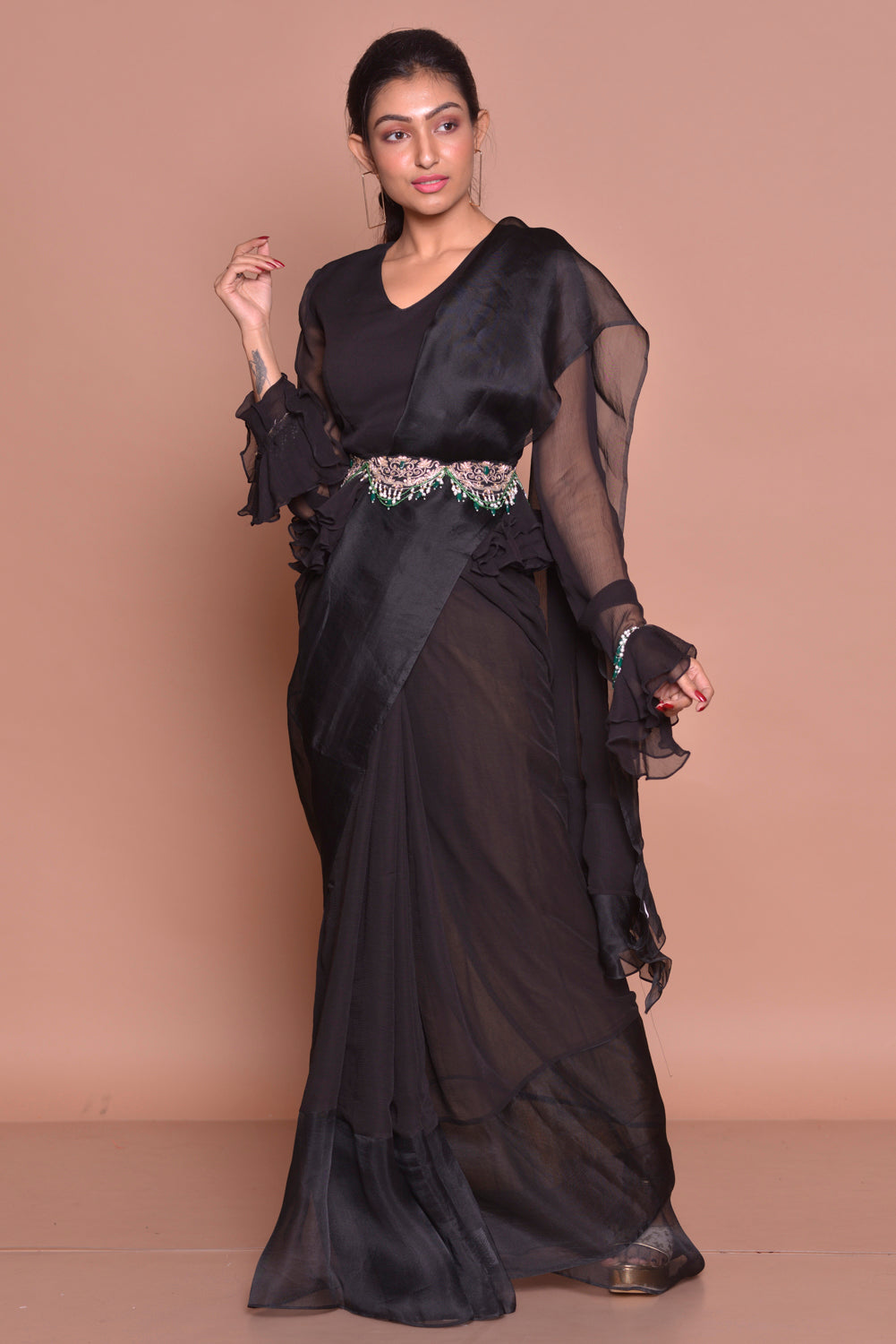 Buy black georgette ruffle saree with belt online in USA with matching sari blouse. Set ethnic fashion goals with exquisite designer sarees with blouse, Banarasi sarees, Kanchipuram saris from Pure Elegance Indian luxury clothing store in USA.-side