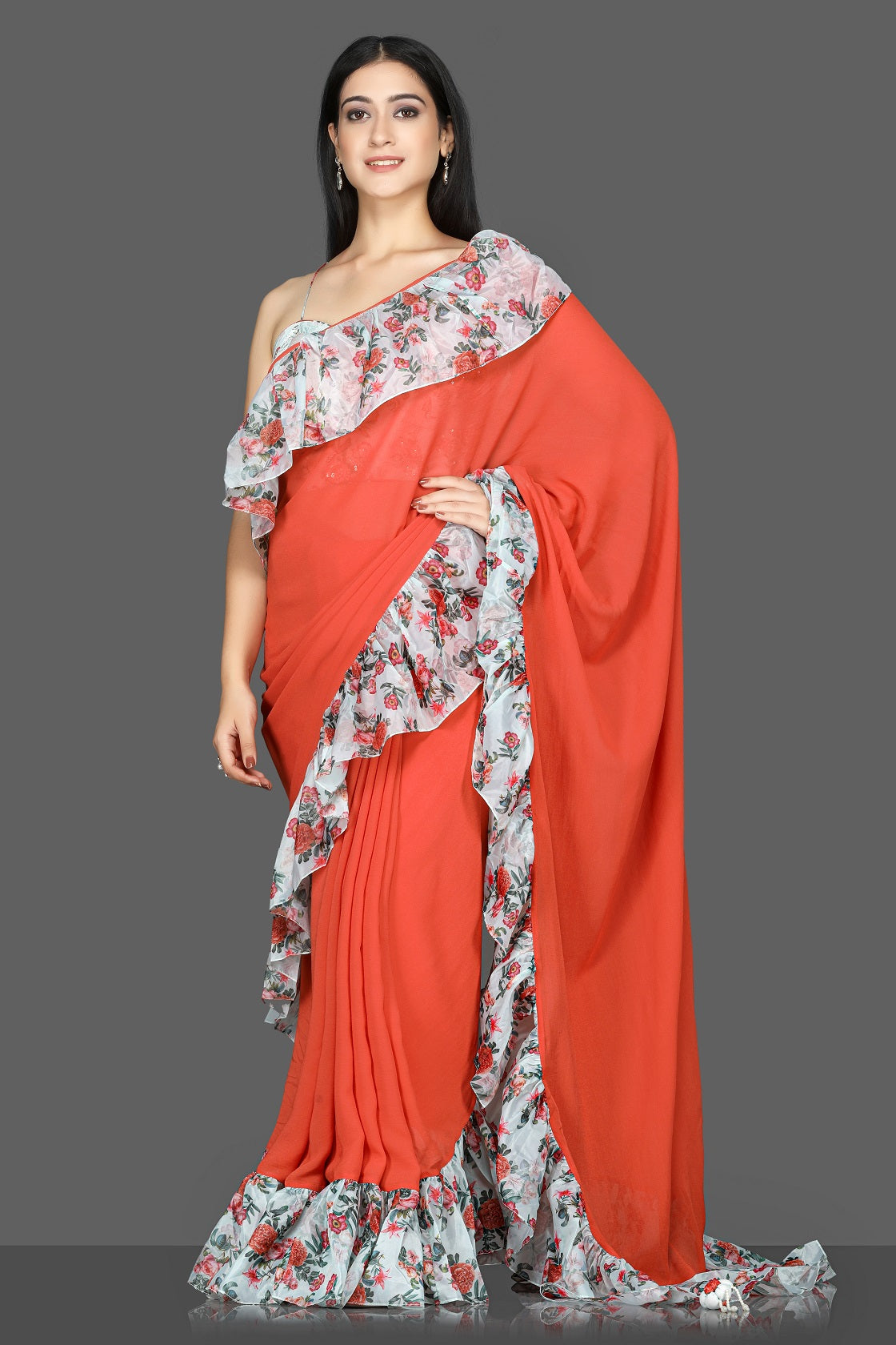 Shop red georgette floral ruffle sari online in USA with printed and embroidered saree blouse. Flaunt ethnic fashion with exquisite designer sarees with blouse. embroidered sarees, pure silk sarees from Pure Elegance Indian fashion boutique in USA.-full view