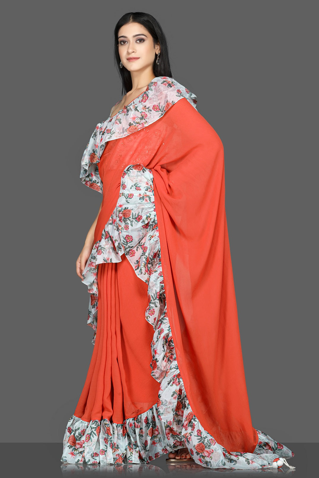 Shop red georgette floral ruffle sari online in USA with printed and embroidered saree blouse. Flaunt ethnic fashion with exquisite designer sarees with blouse. embroidered sarees, pure silk sarees from Pure Elegance Indian fashion boutique in USA.-side