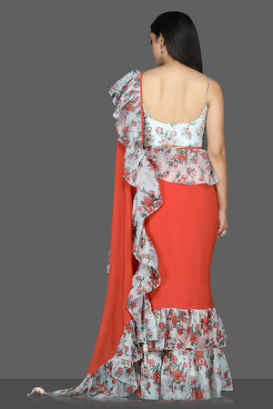 Shop red georgette floral ruffle sari online in USA with printed and embroidered saree blouse. Flaunt ethnic fashion with exquisite designer sarees with blouse. embroidered sarees, pure silk sarees from Pure Elegance Indian fashion boutique in USA.-back