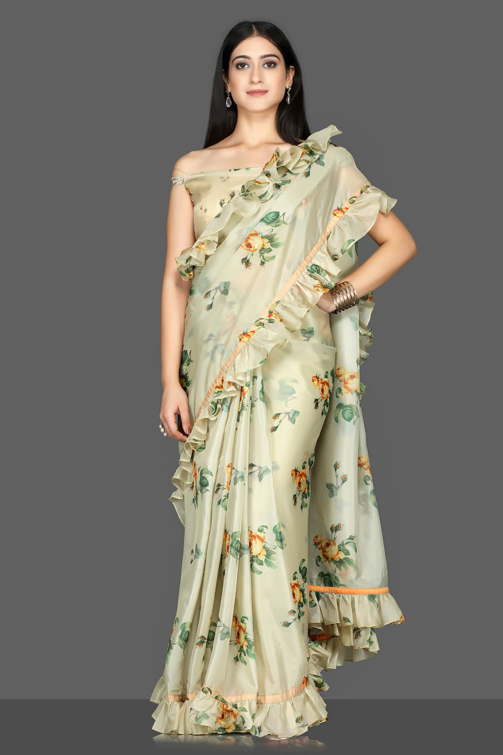 Buy gorgeous pista green floral organza silk saree online in USA with off-shoulder blouse. Go for an attractive saree style with Pure Elegance designer sarees. embroidered sarees, pure silk saris available at our exclusive Indian fashion store in USA.-full view