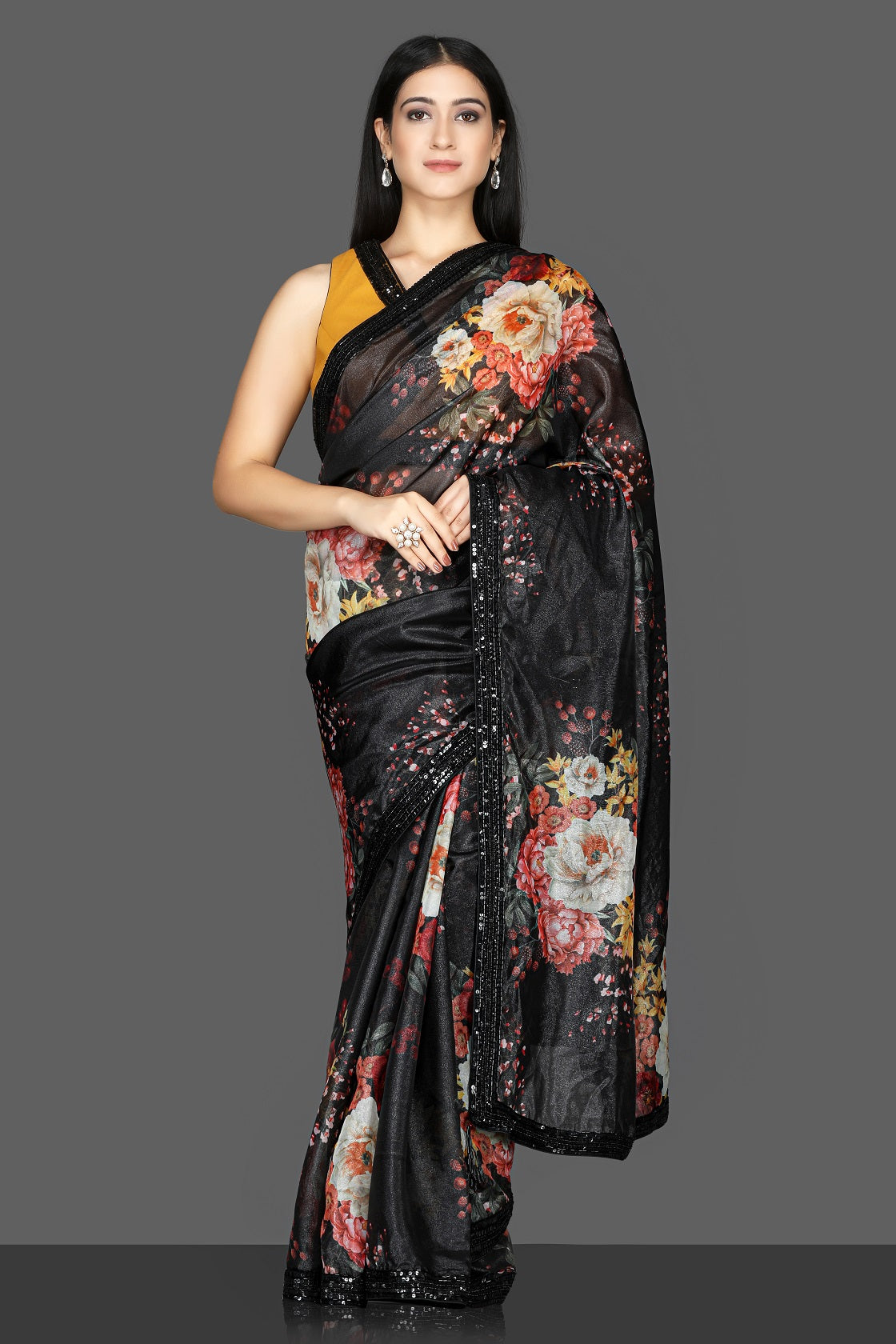 Buy gorgeous black floral embroidered organza saree online in USA with mustard embroidered saree blouse. Flaunt ethnic fashion with exquisite designer sarees with blouse. embroidered sarees, pure silk sarees from Pure Elegance Indian fashion boutique in USA.-full view