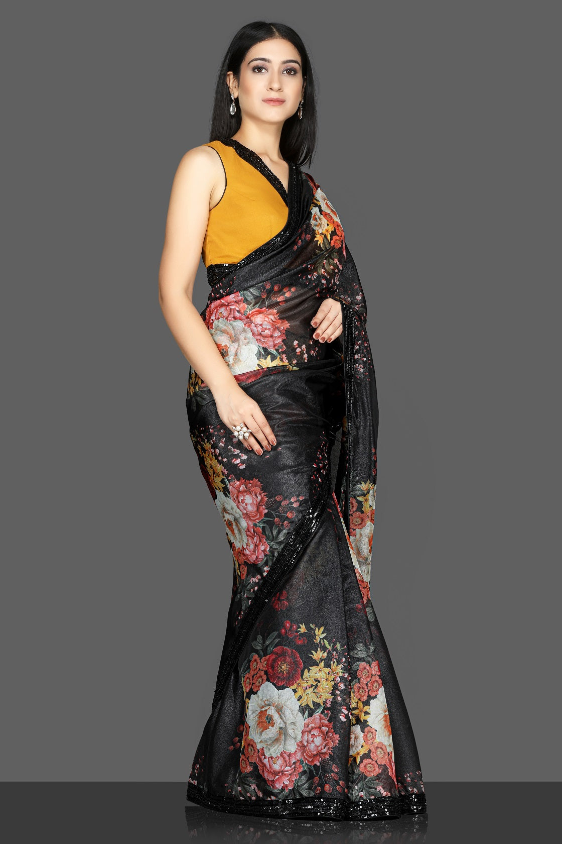 Buy gorgeous black floral embroidered organza saree online in USA with mustard embroidered saree blouse. Flaunt ethnic fashion with exquisite designer sarees with blouse. embroidered sarees, pure silk sarees from Pure Elegance Indian fashion boutique in USA.-side