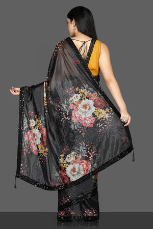 Buy gorgeous black floral embroidered organza saree online in USA with mustard embroidered saree blouse. Flaunt ethnic fashion with exquisite designer sarees with blouse. embroidered sarees, pure silk sarees from Pure Elegance Indian fashion boutique in USA.-back