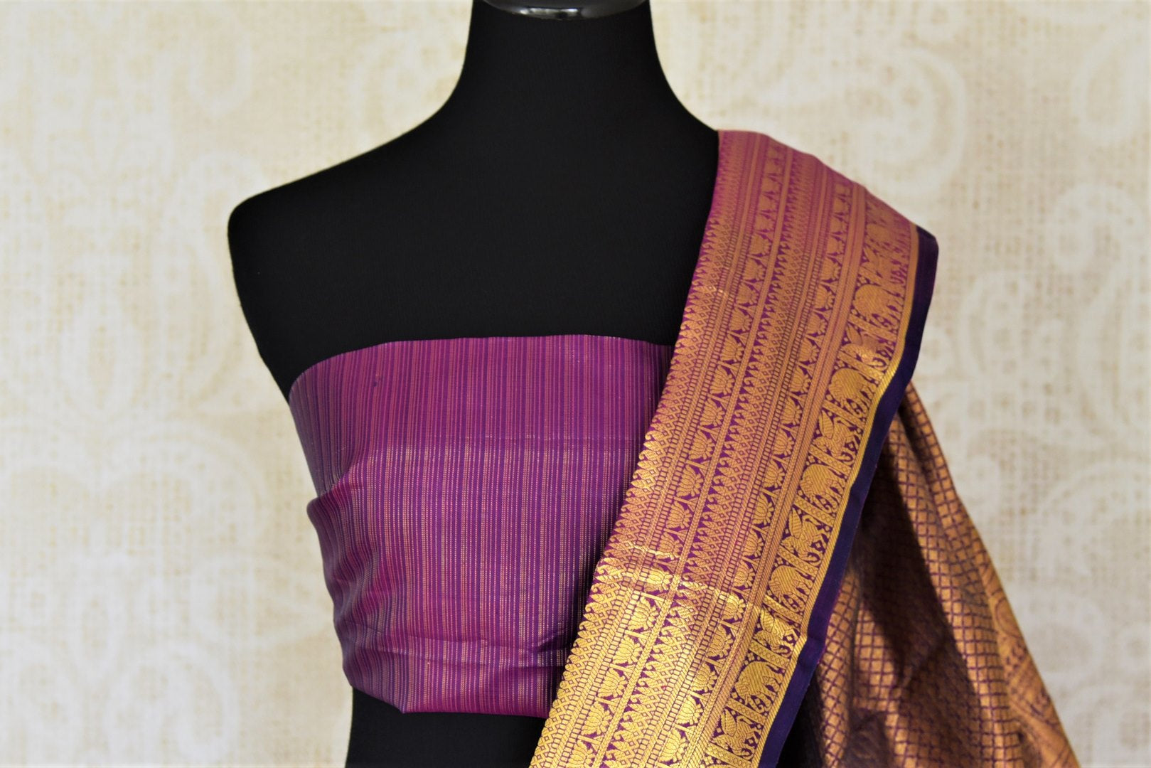 Buy purple striped Kanjivaram saree online in USA with zari border and buta. Add spark to your festive style with beautiful Kanchipuram silk sarees in USA from Pure Elegance Indian fashion store.-blouse pallu
