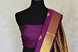 Buy attractive purple Kanjivaram sari online in USA with golden zari border and zari buta. Add spark to your festive style with beautiful Kanchipuram silk sarees in USA from Pure Elegance Indian fashion store.-blouse pallu