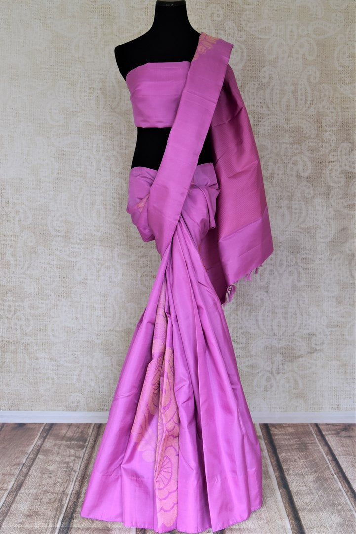 Shop stunning violet Kanchipuram sari online in USA with golden zari floral motifs. Add spark to your festive style with beautiful Kanchipuram silk saris in USA from Pure Elegance Indian fashion store.-full view