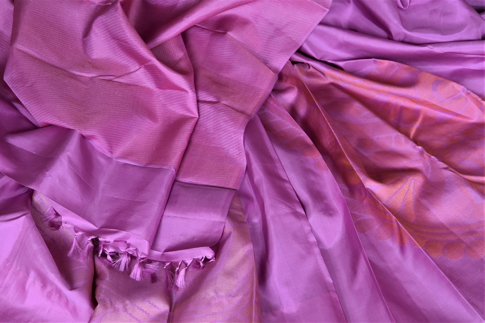 Shop stunning violet Kanchipuram sari online in USA with golden zari floral motifs. Add spark to your festive style with beautiful Kanchipuram silk saris in USA from Pure Elegance Indian fashion store.-details