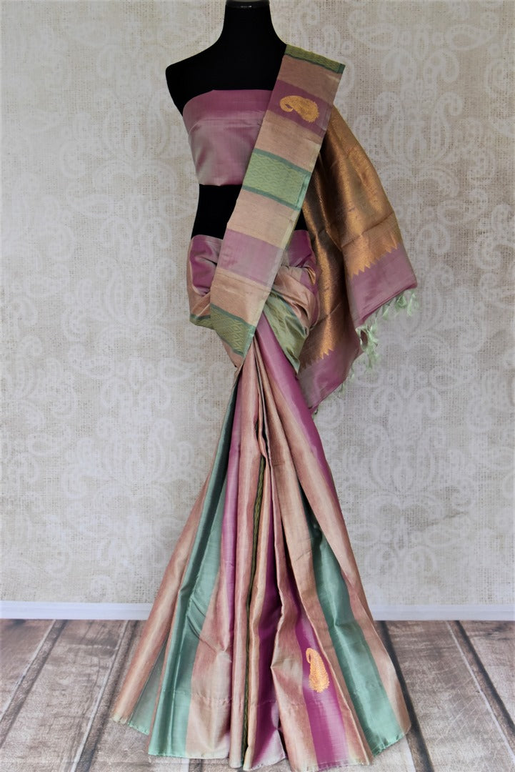 Buy beautiful multicolor stripes Kanjivaram saree with paisley zari buta. Give yourself a beautiful traditional makeover this wedding season with exquisite Kanchipuram silk sarees from Pure Elegance Indian fashion boutique in USA.-full view