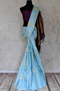 Buy gorgeous powder blue borderless Kanjivaram saree online in USA with zari peacock buta and purple zari pallu. Add spark to your festive style with beautiful Kanchipuram silk saris in USA from Pure Elegance Indian fashion store.-full view