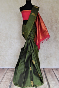 90J181 Bottle Green Kanjeevaram Saree with Paisley Golden Zari Buta