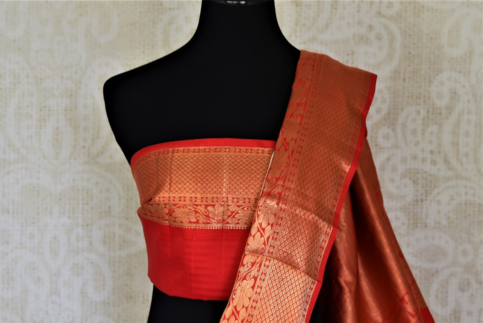 Shop cream self stripes Kanjivaram sari online in USA with red zari border. Get spoiled for choices with a myriad of Kanjivaram silk sarees, wedding sarees from Pure Elegance Indian fashion store in USA.-blouse pallu