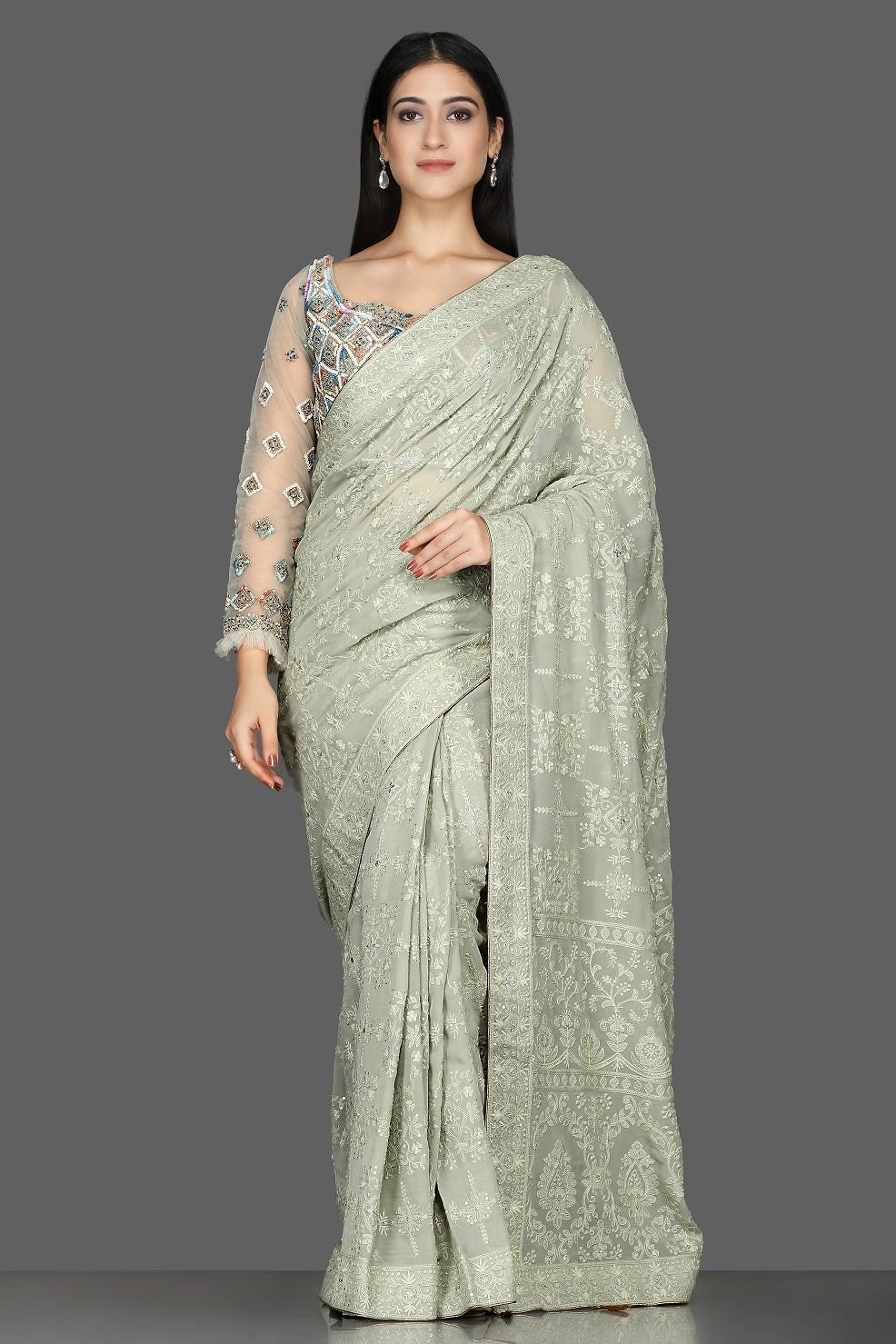 Buy gorgeous tea green Lucknowi georgette saree online in USA with embroidered blouse. Shine at weddings and special occasions with beautiful embroidered sarees, designer sari with in USA from Pure Elegance Indian clothing in USA.-full view