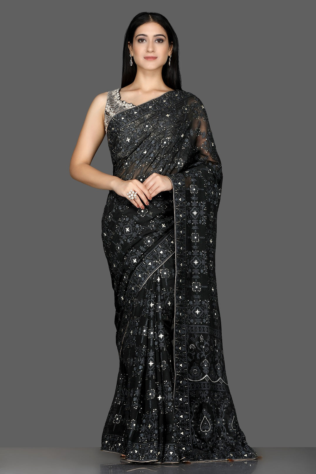 Buy black Lucknowi georgette saree online in USA with embroidered sari blouse. Shine at weddings and special occasions with beautiful embroidered sarees, designer sari with blouse in USA from Pure Elegance Indian clothing in USA.-full view