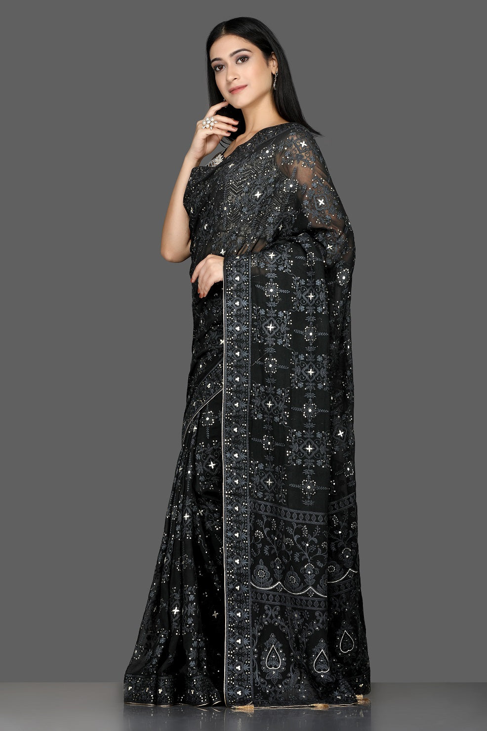 Buy black Lucknowi georgette saree online in USA with embroidered sari blouse. Shine at weddings and special occasions with beautiful embroidered sarees, designer sari with blouse in USA from Pure Elegance Indian clothing in USA.-side