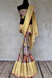 Shop beautiful lilac floral print Kanjivaram saree online in USA with golden zari border. Be the center of attraction at parties and weddings with beautiful Kanchipuram silk sarees, pure silk sarees, handwoven sarees, Banarasi sarees from Pure Elegance Indian fashion store in USA.-full view