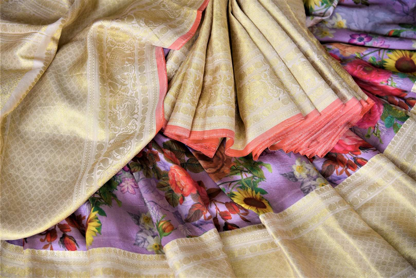Shop beautiful lilac floral print Kanjivaram saree online in USA with golden zari border. Be the center of attraction at parties and weddings with beautiful Kanchipuram silk sarees, pure silk sarees, handwoven sarees, Banarasi sarees from Pure Elegance Indian fashion store in USA.-details