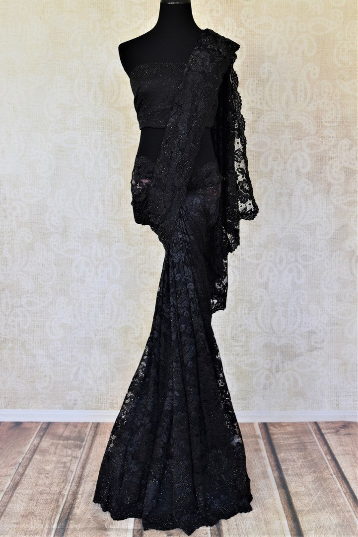 Shop stunning black stone work designer sari online in USA. Make a glamorous appearance on special occasions with exquisite Indian designer sarees, embroidered saris, Bollywood sarees from Pure Elegance Indian fashion store in USA.-full view