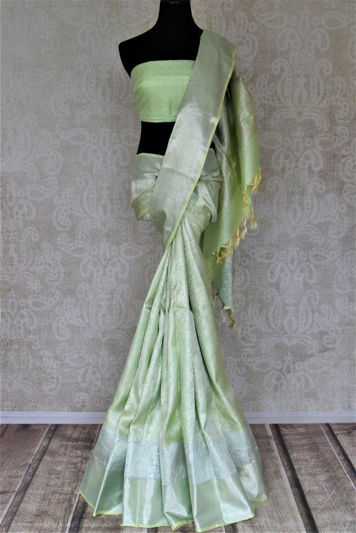 Buy beautiful pastel green silver zari work Kanchipuram saree online in USA. Make a beautiful appearance on special occasions with exquisite Indian designer sarees, Kanchipuram silk saris, Bollywood sarees from Pure Elegance Indian fashion store in USA.-full view