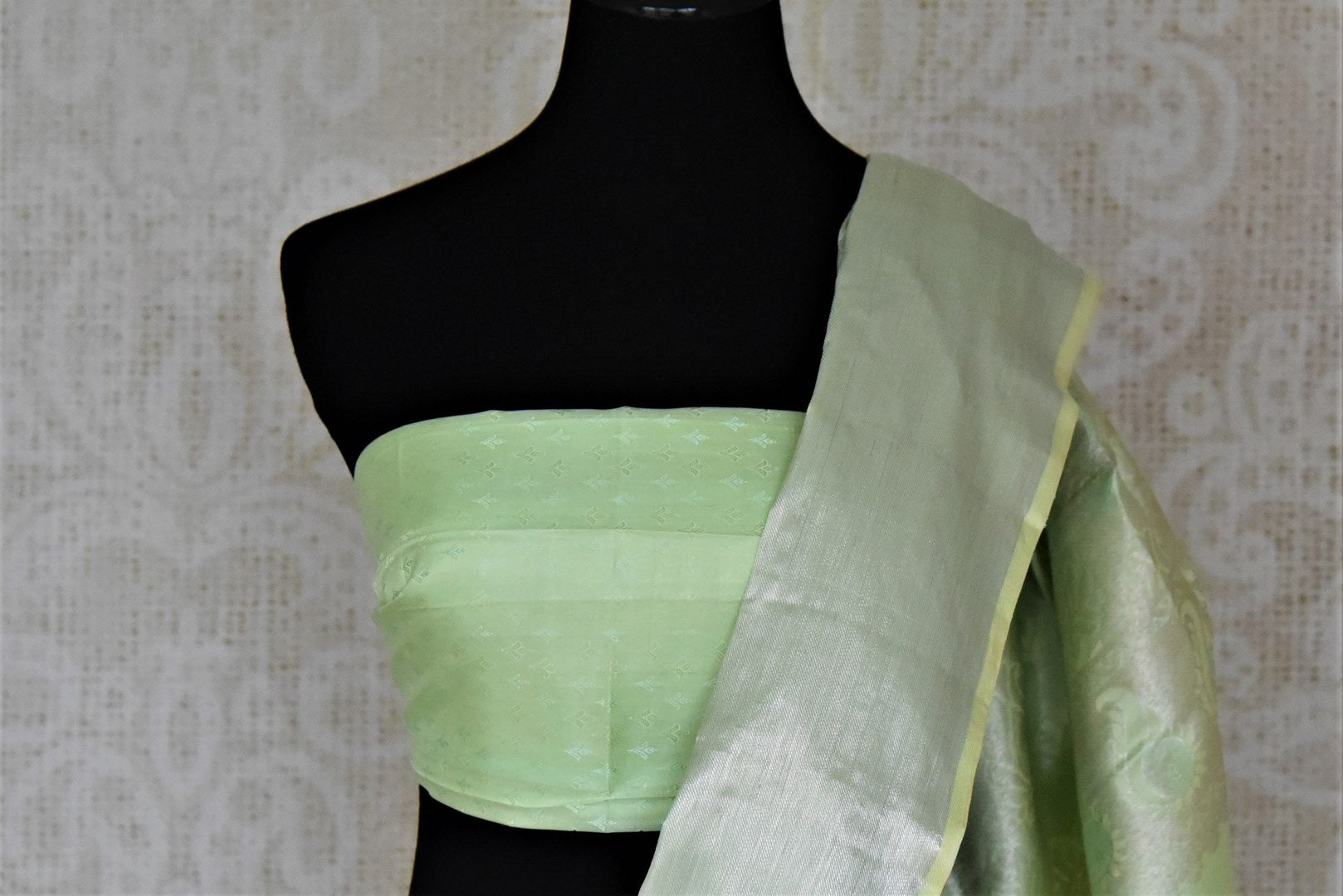 Buy beautiful pastel green silver zari work Kanchipuram saree online in USA. Make a beautiful appearance on special occasions with exquisite Indian designer sarees, Kanchipuram silk saris, Bollywood sarees from Pure Elegance Indian fashion store in USA.-blouse pallu