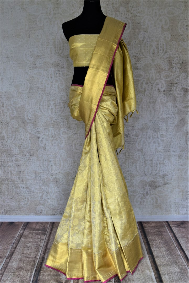 Buy gorgeous golden zari work Kanjivaram saree online in USA with zari border. Look rich and traditional at weddings and festive occasions with exquisite Kanchipuram silk sarees from Pure Elegance Indian fashion store in USA.-full view