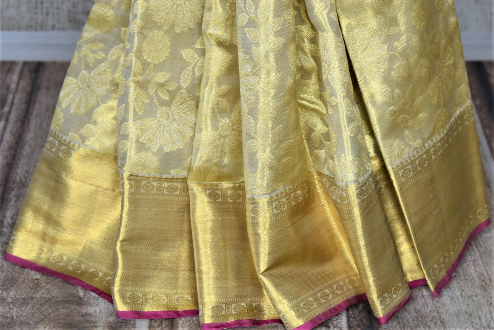 Buy gorgeous golden zari work Kanjivaram saree online in USA with zari border. Look rich and traditional at weddings and festive occasions with exquisite Kanchipuram silk sarees from Pure Elegance Indian fashion store in USA.-pleats