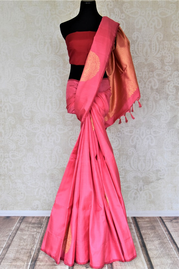 Buy beautiful pink borderless Kanjivaram saree online in USA with heavy zari buta. Spread your ethnic charm on special occasions with traditional Kanchipuram sarees, soft silk sarees from Pure Elegance Indian fashion store in USA.-full view