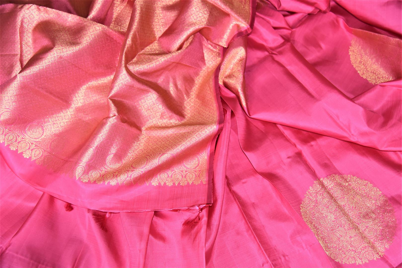 Buy beautiful pink borderless Kanjivaram saree online in USA with heavy zari buta. Spread your ethnic charm on special occasions with traditional Kanchipuram sarees, soft silk sarees from Pure Elegance Indian fashion store in USA.-details
