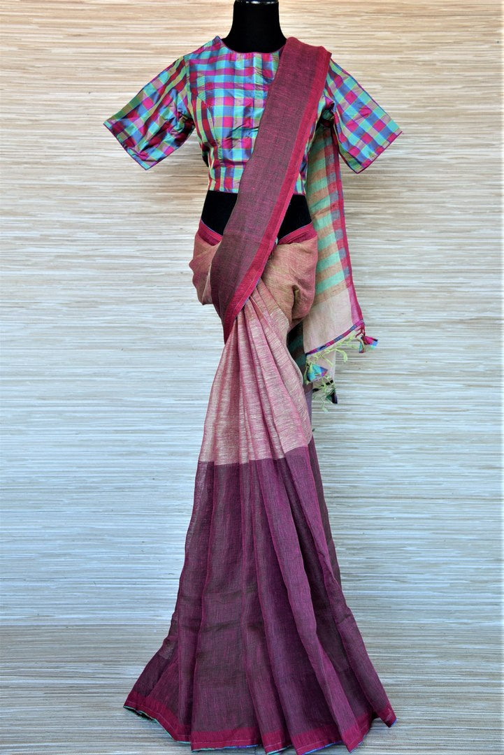 Shop two-tone pink linen saree online in USA with silk check saree blouse. Go for a distinct and tasteful saree style on special occasions with handwoven sarees, linen sarees with blouse from Pure Elegance Indian fashion store in USA.-full view