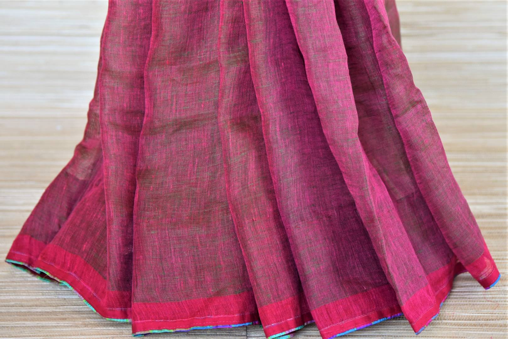 Shop two-tone pink linen saree online in USA with silk check saree blouse. Go for a distinct and tasteful saree style on special occasions with handwoven sarees, linen sarees with blouse from Pure Elegance Indian fashion store in USA.-pleats