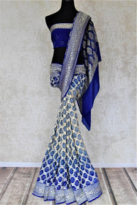 Buy stunning ombre blue bandhej georgette Banarasi sari online in USA. Spread your ethnic charm on special occasions with traditional Banarasi sarees, bandhej sarees, georgette sarees from Pure Elegance Indian fashion store in USA.-full view