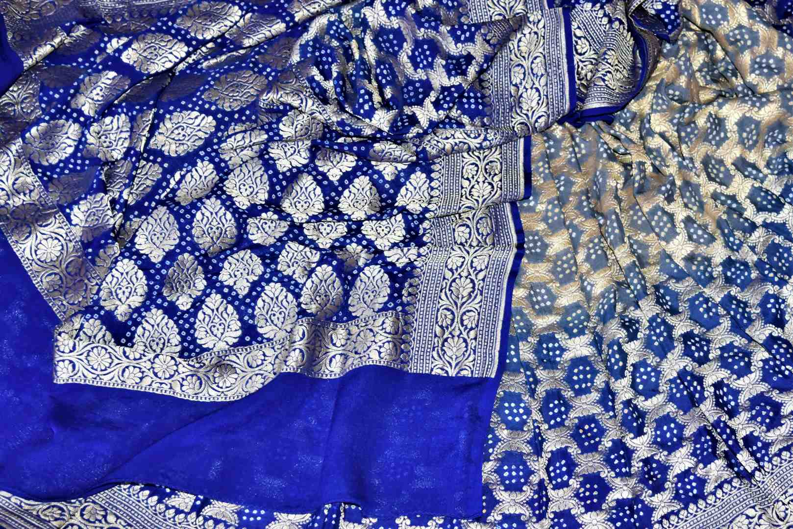 Buy stunning ombre blue bandhej georgette Banarasi sari online in USA. Spread your ethnic charm on special occasions with traditional Banarasi sarees, bandhej sarees, georgette sarees from Pure Elegance Indian fashion store in USA.-details