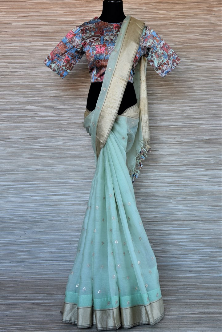 Buy beautiful mint green embroidered chanderi silk saree online in USA with printed saree blouse. Go for a distinct and tasteful saree style on special occasions with handwoven sarees, chanderi sarees with blouse from Pure Elegance Indian fashion store in USA.-full view