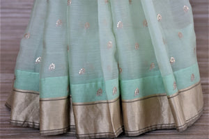 Buy beautiful mint green embroidered chanderi silk saree online in USA with printed saree blouse. Go for a distinct and tasteful saree style on special occasions with handwoven sarees, chanderi sarees with blouse from Pure Elegance Indian fashion store in USA.-pleats