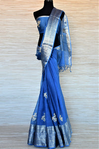 Buy blue gota patti embroidery chanderi sari online in USA with zari border. Go for a distinct and tasteful saree style on special occasions with handwoven sarees, chanderi sarees with blouse from Pure Elegance Indian fashion store in USA.-full view